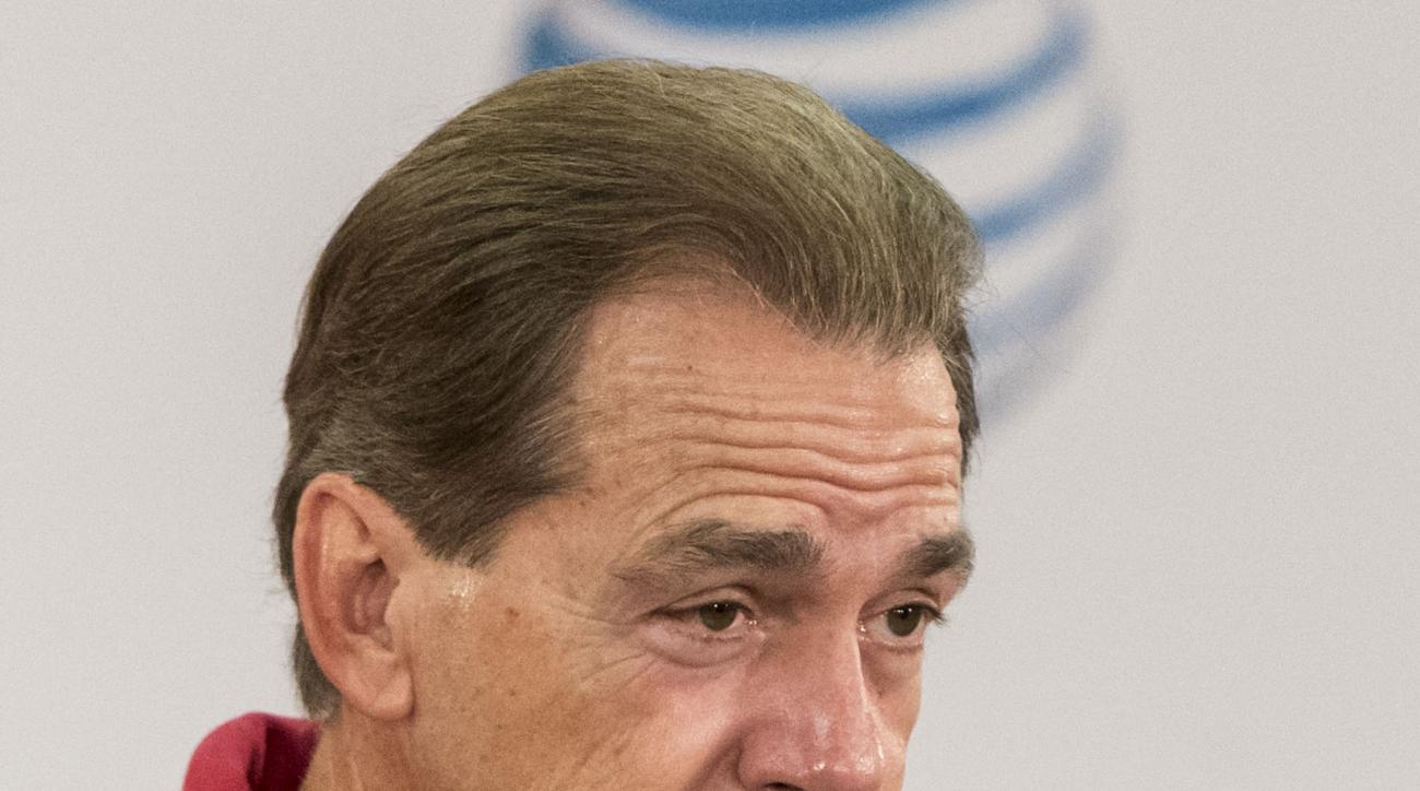 Alabama football coach Nick Saban reacts to a question during his news conference Wednesday, Nov. 11, 2015, in Tuscaloosa, Ala. (Vasha Hunt/AL.com via AP)