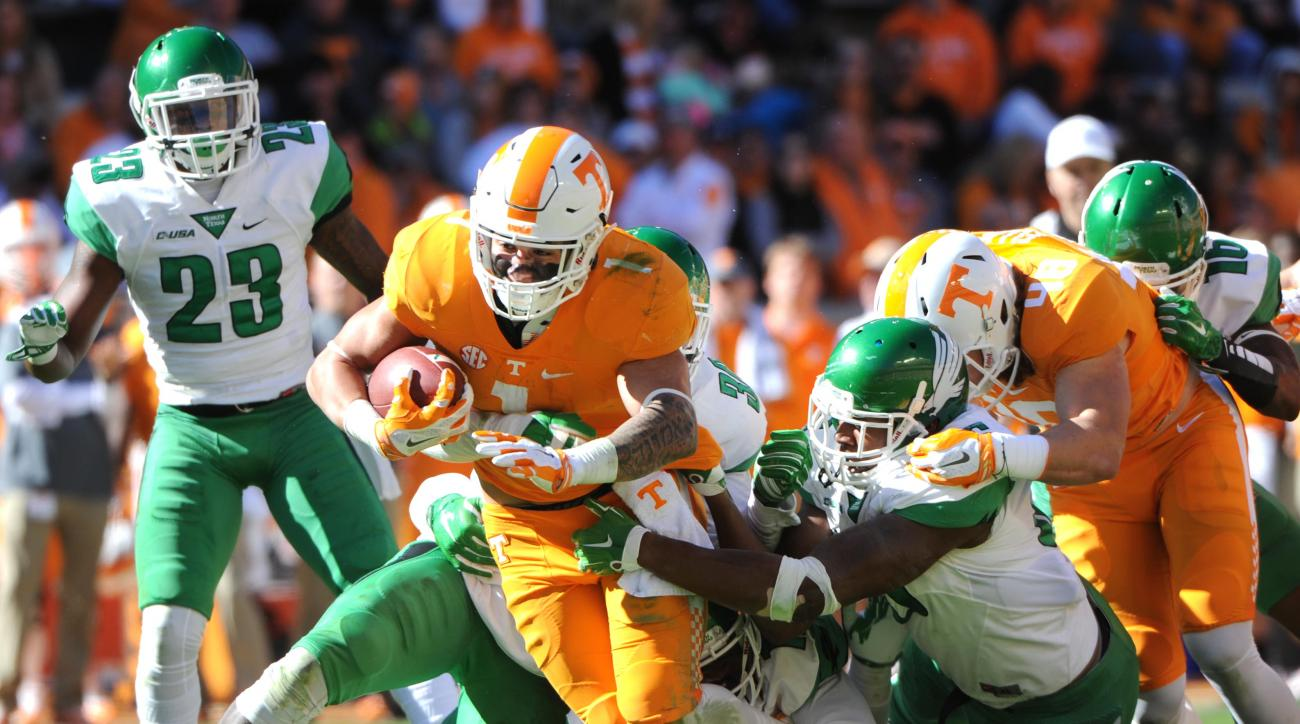 Tennessee running back Jalen Hurd (1) carries the ball against North Texas defense during the first half of an NCAA college football game at Neyland Stadium in Knoxville, Tenn. on Saturday, Nov. 14, 2015. (Michael Patrick/Knoxville News Sentinel via AP)