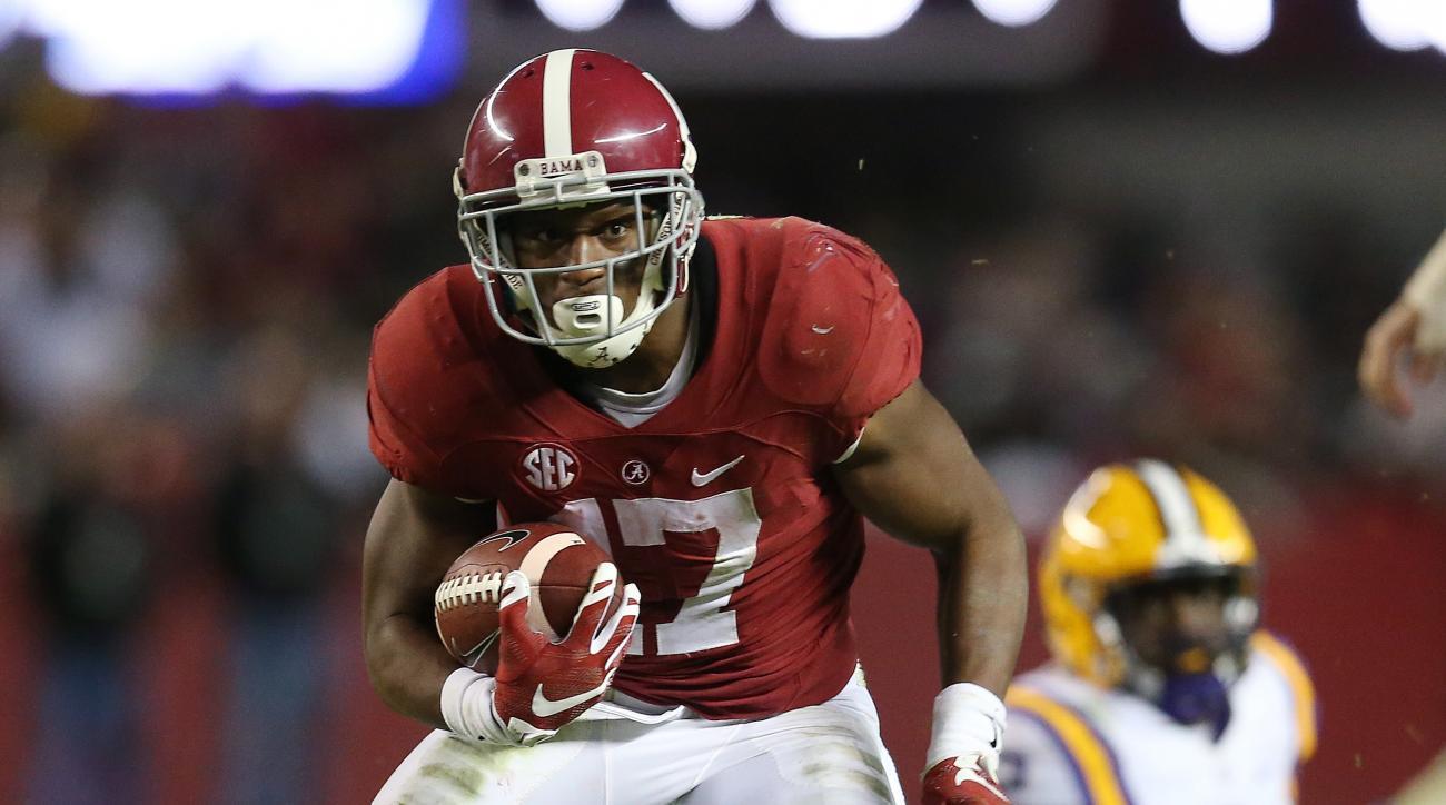 Alabama running back Kenyan Drake (17) runs against LSU in the second half of an NCAA college football game Saturday, Nov. 7, 2015, in Tuscaloosa , Ala. (AP Photo/John Bazemore)