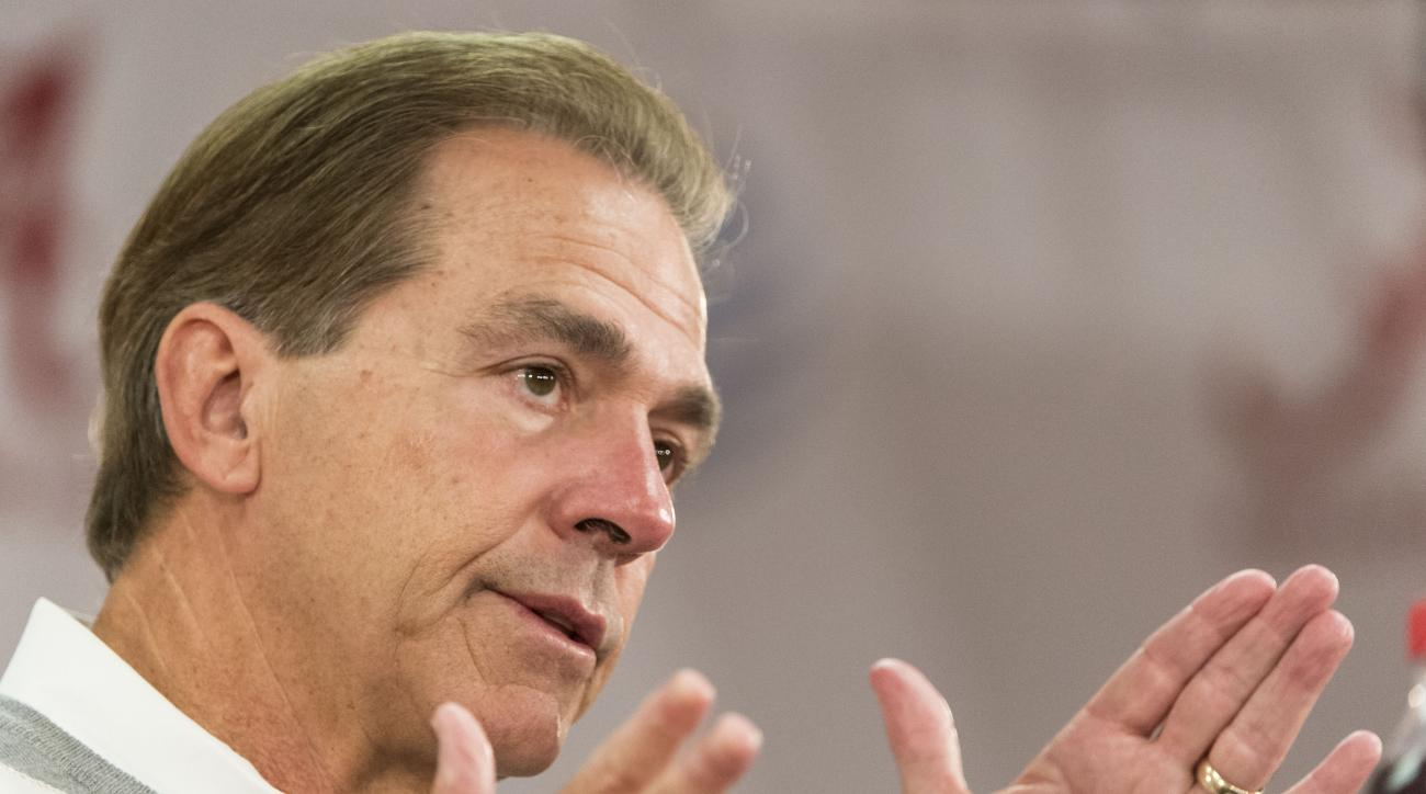 Alabama football coach Nick Saban talks with the media during his weekly press conference, Monday, Nov. 16, 2015,  in Tuscaloosa, Ala. (AP Photo/Alabama Media Group, Vasha Hunt)