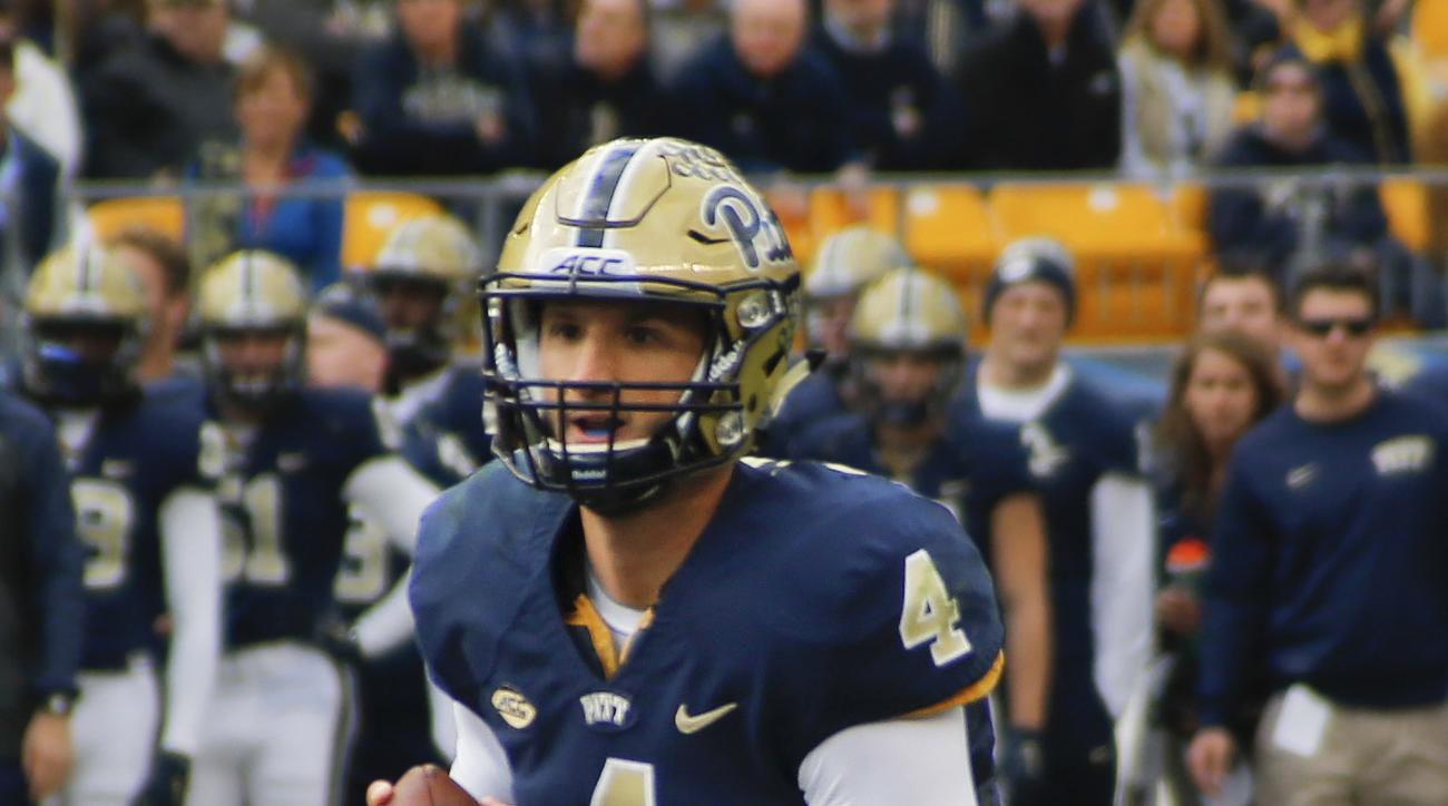 FILE - In this file photo from Nov. 7, 2015, Pittsburgh quarterback Nathan Peterman (4) scrambles in an NCAA football game against Notre Dame, in Pittsburgh. Peterman at Pitt and Everett Golson at Florida State are among those who found a second act in th