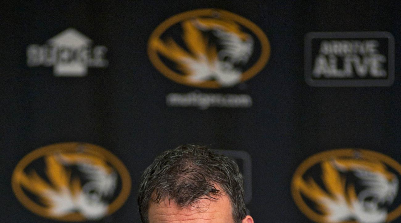 Missouri Athletic Director Mack Rhodes answers questions during a news conference about the search for head football coach Gary Pinkel's replacement on Wednesday, Nov. 18, 2015 at Mizzou Arena in Columbia, Mo. (Nick Schnelle/Columbia Daily Tribune via AP)