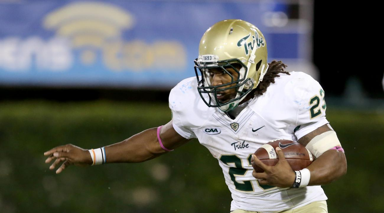 William & Mary Tribe Kendell Anderson #23 in action against the Delaware Blue Hens during a college football game on Saturday, October 3, 2015 in Newark, DE.  Delaware won 24-23.  (AP Photo/Gregory Payan)