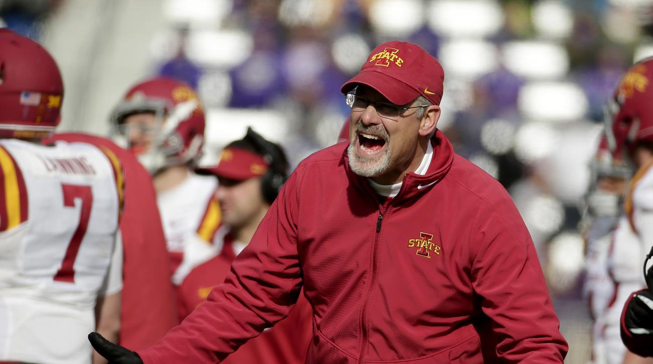 Iowa State head coach Paul Rhoads argues a call during the first half of an NCAA college football game against Kansas State, Saturday, Nov. 21, 2015, in Manhattan, Kan. (AP Photo/Charlie Riedel)