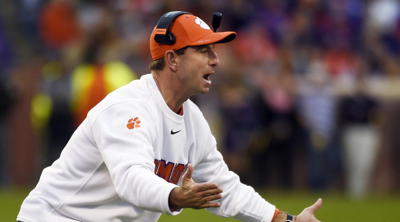 Clemson head coach Dabo Swinney reacts to a play during the first half of an NCAA college football game against Wake Forest on Saturday, Nov. 21, 2015, in Clemson, S.C. (AP Photo/Rainier Ehrhardt)