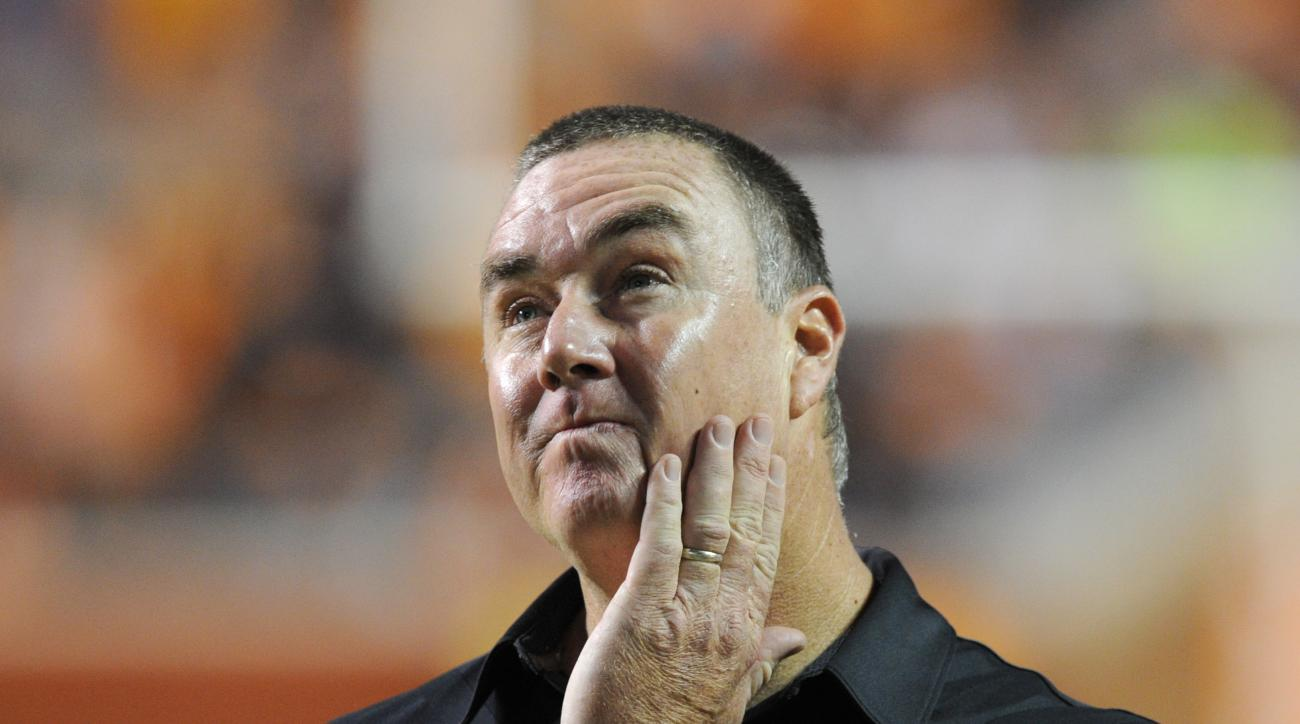 FILE - In this Nov. 7, 2015, file photo, South Carolina interim head coach Shawn Elliott reacts in the final minutes of a 27-24 loss to Tennessee in Knoxville, Tenn. Interim South Carolina coach Shawn Elliott wanted his six-game tryout to end Saturday lik