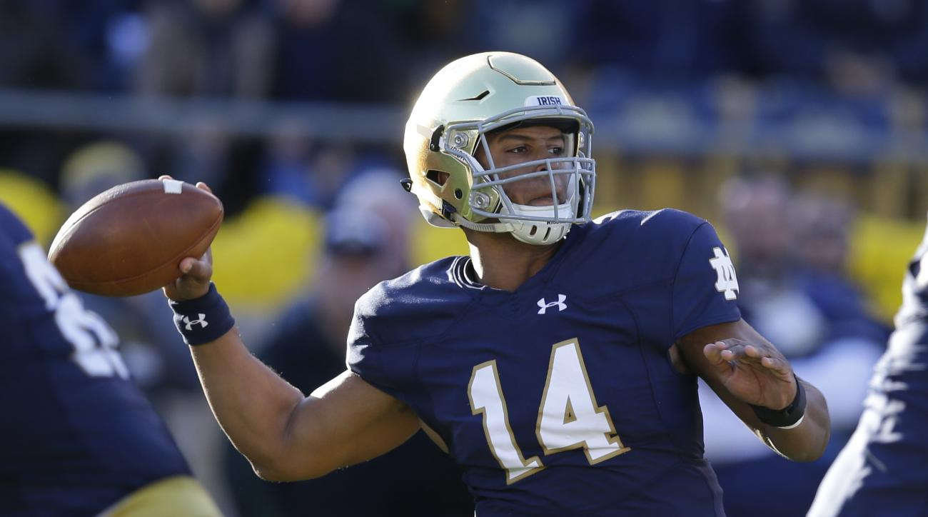 FILE - In this Nov. 14, 2015, file photo, Notre Dame quarterback DeShone Kizer (14) throws against Wake Forest during the first half of an NCAA college football game in South Bend, Ind. Kizer knows after throwing three interceptions last week he needs to