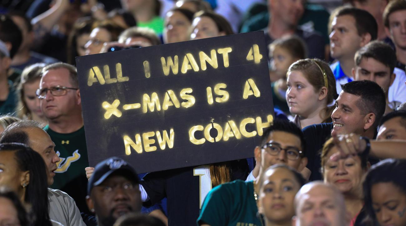 Central Florida fans react hold up a sign during the first half of the team's NCAA college football game against South Florida on Thursday, Nov. 26, 2015, in Orlando, Fla. (Joshua C. Cruey/Orlando Sentinel via AP)