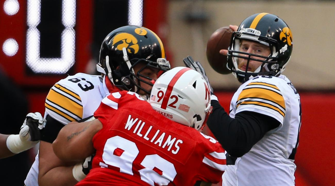 Iowa quarterback C.J. Beathard (16) looks to throw as offensive lineman Austin Blythe (63) blocks Nebraska defensive tackle Kevin Williams (92) during the first half of an NCAA college football game in Lincoln, Neb., Friday, Nov. 27, 2015. (AP Photo/Nati