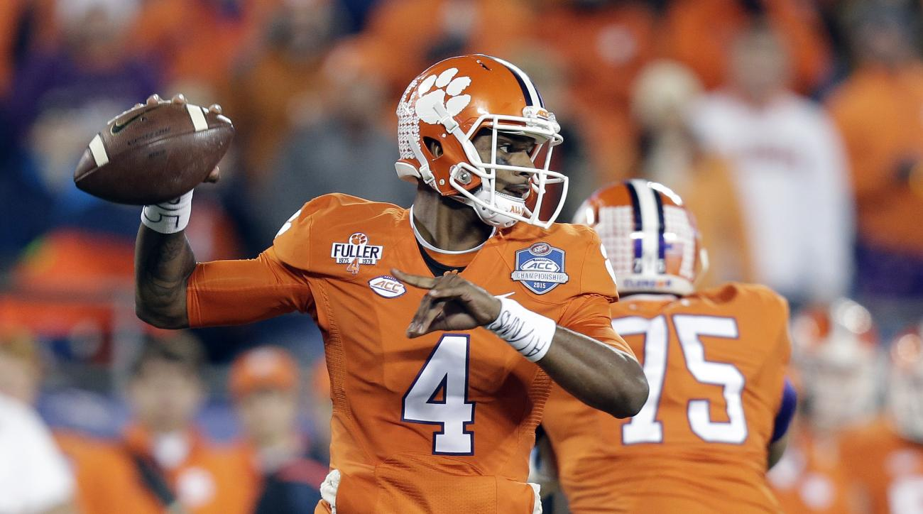 Clemson quarterback Deshaun Watson looks to pass against North Carolina during the first half of the Atlantic Coast Conference championship NCAA college football game in Charlotte, N.C., Saturday, Dec. 5, 2015. (AP Photo/Gerry Broome)