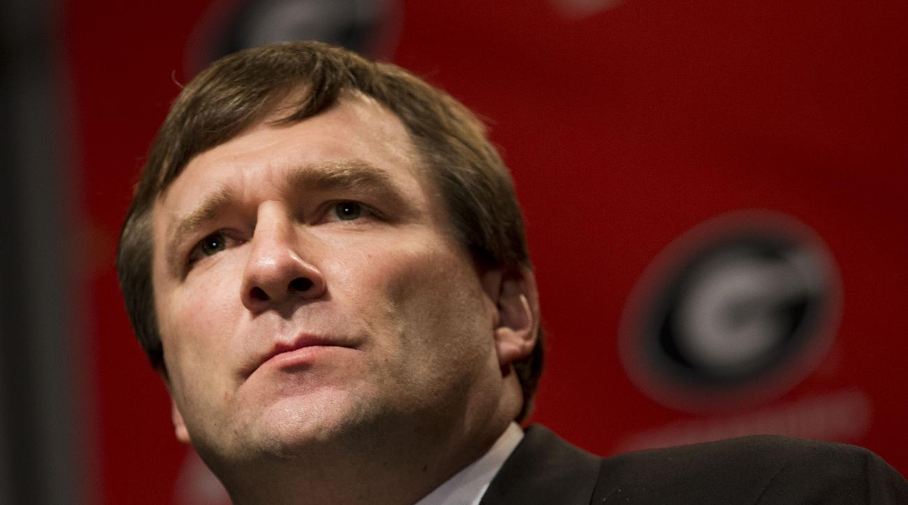 Alabama defensive coordinator Kirby Smart speaks during a press conference where he was introduced as Georgia's new NCAA college head football coach  Monday, Dec. 7, 2015, in Athens, Ga. Smart will continue in his current role as Alabama's defensive coord