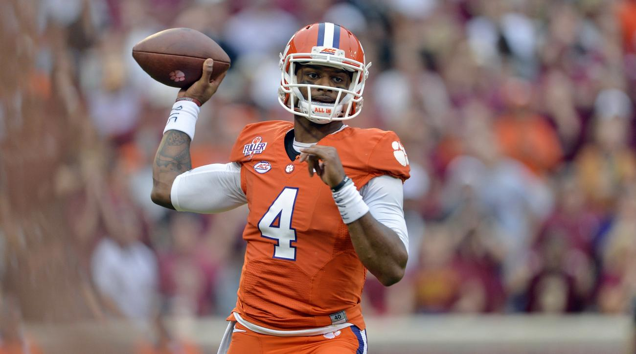 FILE - In this Nov. 7, 2015, file photo, Clemson quarterback Deshaun Watson throws a pass during the first half of an NCAA college football game against Florida State in Clemson, S.C. Watson has been named to the AP All-America team football team. (AP Pho