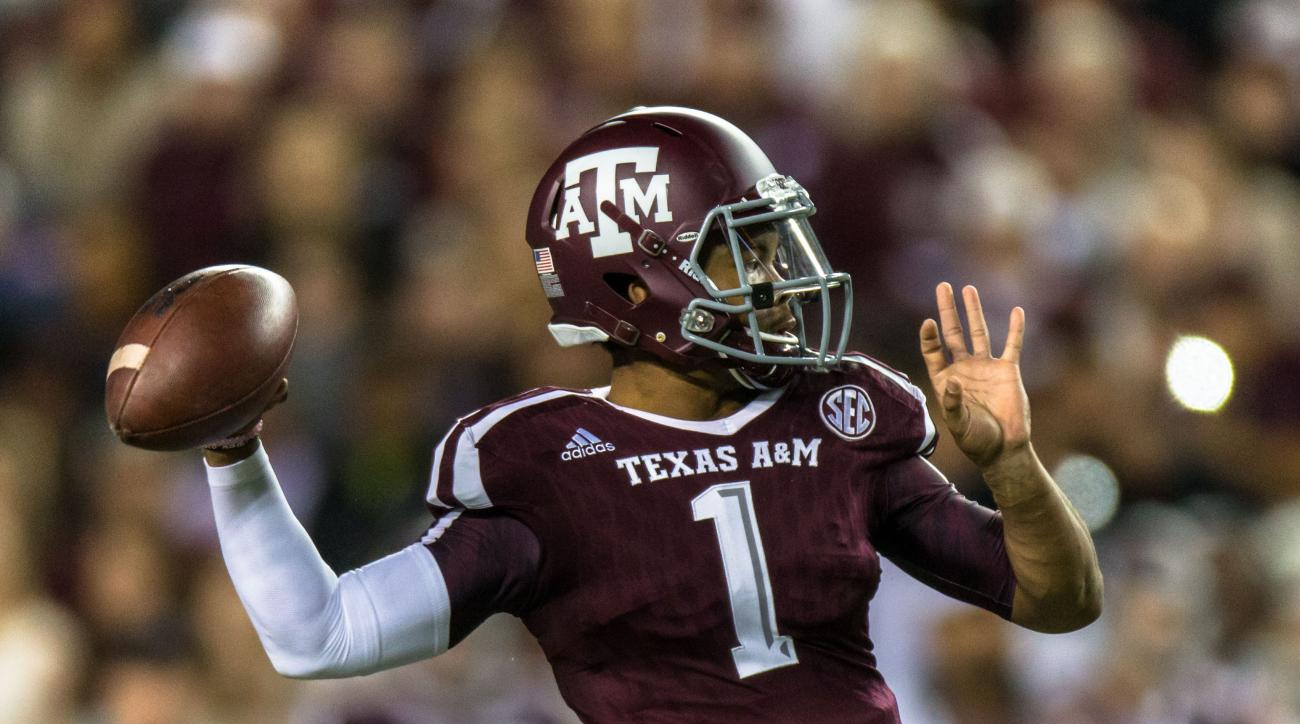 Texas A&M's quarterback Kyler Murray (1) looks to pass during the first half of an NCAA college football game against Western Carolina Saturday, Nov. 14, 2015, in College Station, Texas. Texas A&M defeated Western Carolina 41-17. (AP Photo/Juan DeLeon)