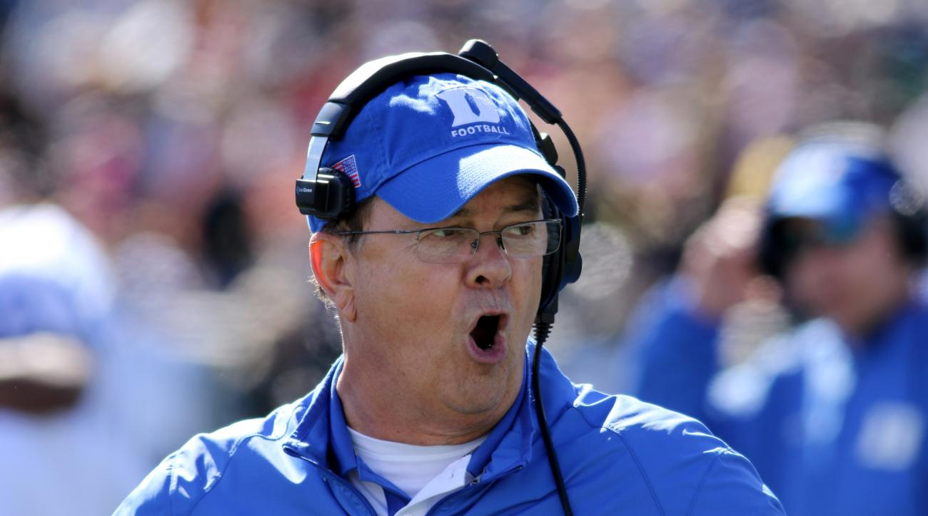 FILE - In this Oct. 10, 2015, file photo, Duke head coach David Cutcliffe yells on the sidelines during an NCAA college football game against Army, in West Point, N.Y.  The Blue Devils (7-5) will need to find a new offensive coordinator soon and their tea