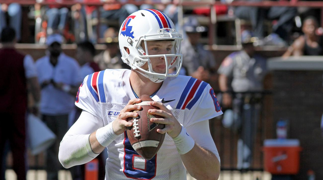 FILE - In this Oct. 17, 2015, file photo, Louisiana Tech quarterback Jeff Driskel (6) looks for a receiver during the first half of a NCAA college football game against Mississippi State in Starkville, Miss. Driskel will end his college career in the Supe