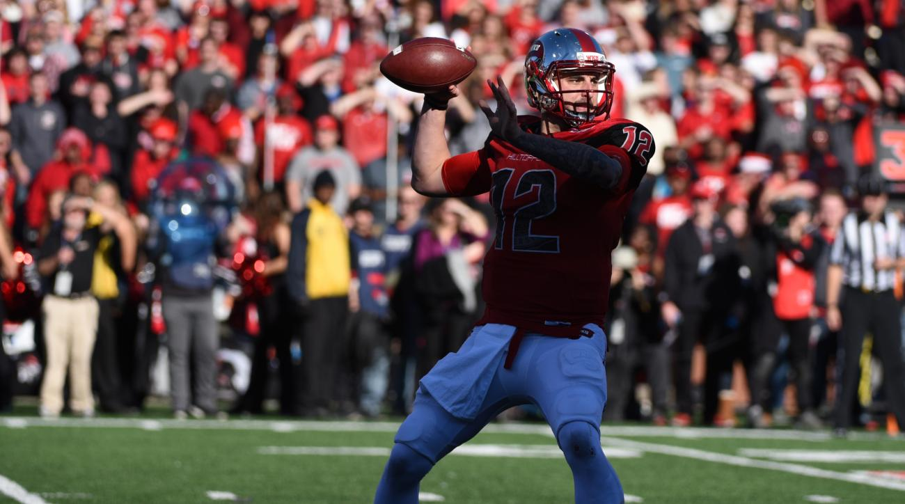 FILE - In this Saturday, Dec. 5, 2015, file photo, Western Kentucky quarterback Brandon Doughty passes in the second half against Southern Mississippi in the NCAA college Conference USA championship game in Bowling Green, Ky. Western Kentucky will play So