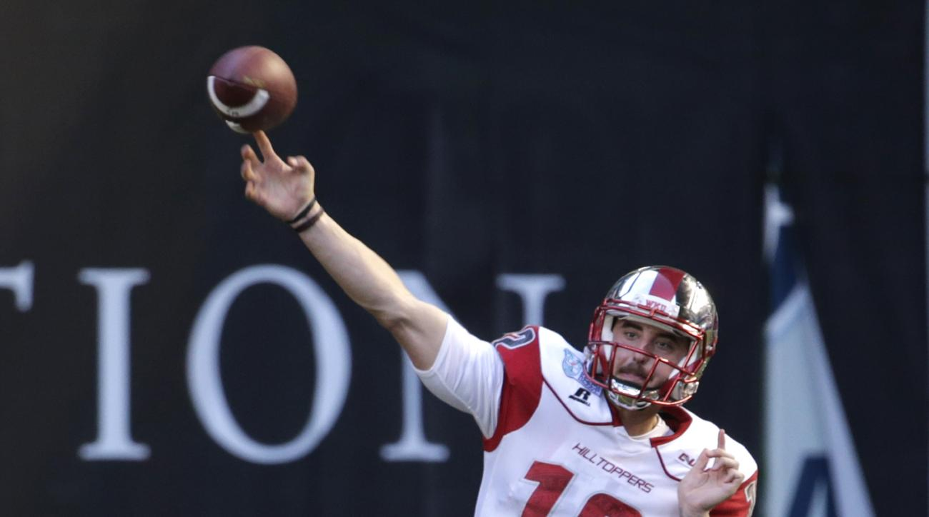 Western Kentucky quarterback Brandon Doughty (12) throws during the second half of the NCAA college football Miami Beach Bowl game against South Florida, Monday, Dec. 21, 2015, in Miami. (AP Photo/Lynne Sladky)