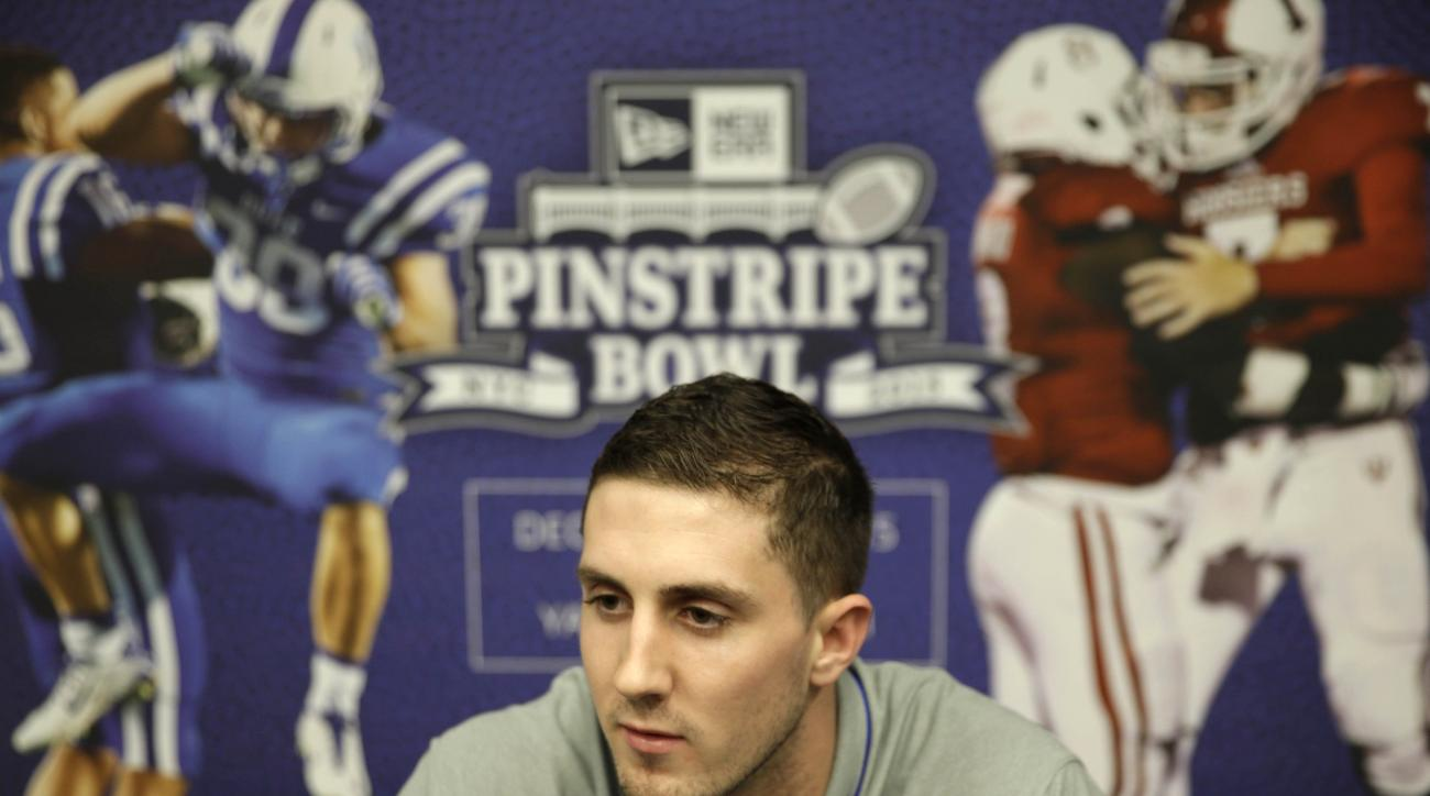 Duke quarterback Thomas Sirk talks to reporters during a news conference in New York, Thursday, Dec. 24, 2015. Duke will play Indiana in the Pinstripe Bowl on Saturday, Dec. 26, 2015. (AP Photo/Seth Wenig)