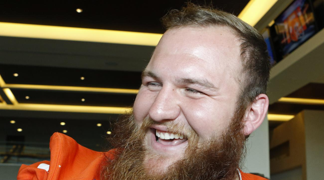 Clemson offensive lineman Eric Mac Lain speaks with a reporter during Orange Bowl media day at Sun Life Stadium Tuesday, Dec. 29, 2015, in Miami Gardens, Fla. Clemson is scheduled to play Oklahoma in the Orange Bowl NCAA college football game on New Year'