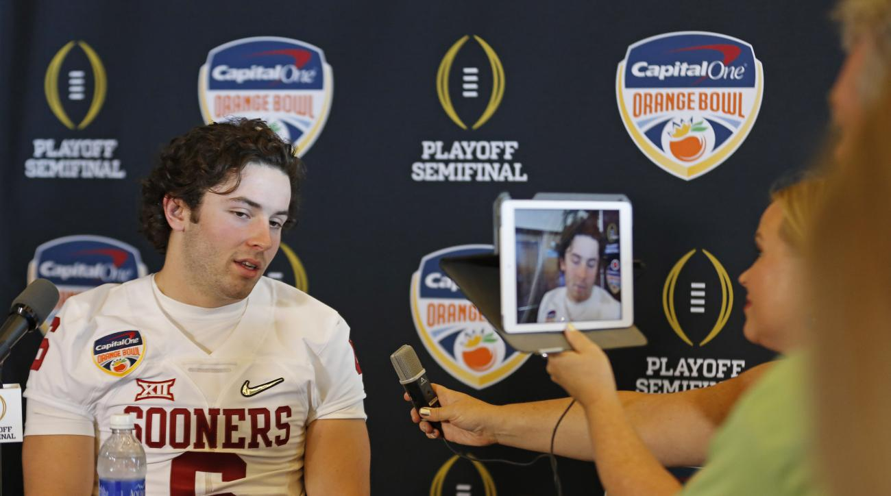 Oklahoma quarterback Baker Mayfield is interviewed during the Orange Bowl media day at Sun Life Stadium Tuesday, Dec. 29, 2015, in Miami Gardens Fla. Oklahoma is scheduled to play Clemson in the Orange Bowl NCAA college football game on New Year's Eve. (A