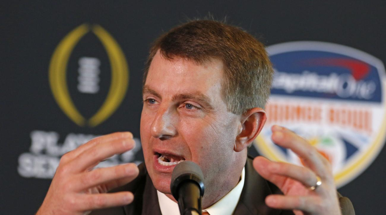 Clemson head coach Dabo Swinney speaks during the media day for the Orange Bowl at Sun Life Stadium Tuesday, Dec. 29, 2015, in Miami Gardens, Fla. Clemson is scheduled to play Oklahoma in the Orange Bowl NCAA college football game on New Year's Eve. (AP P