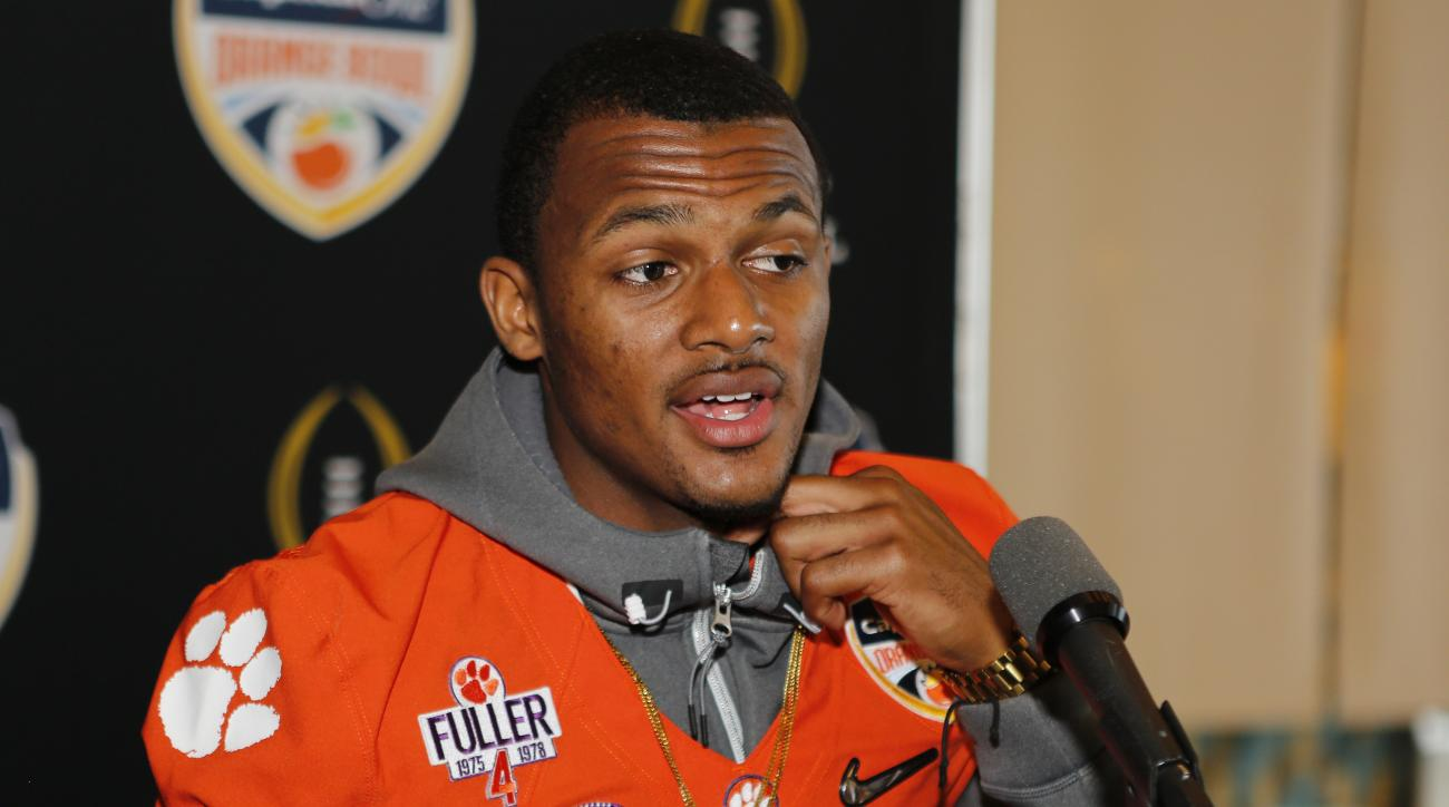 Clemson quarterback Deshaun Watson speaks during the media day for the Orange Bowl at Sun Life Stadium Tuesday, Dec. 29, 2015, in Miami Gardens, Fla. Clemson is scheduled to play Oklahoma in the Orange Bowl NCAA college football game on New Year's Eve. (A