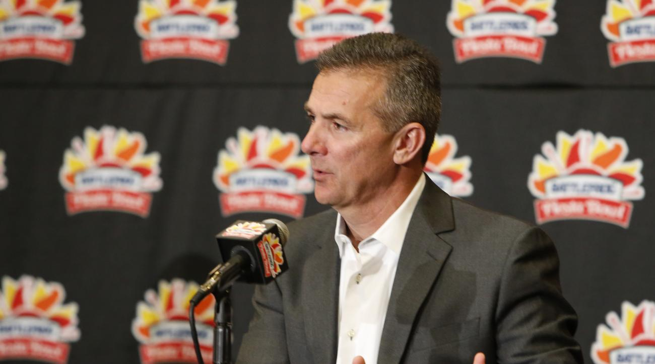 Ohio State head coach Urban Meyer speaks to the media speaks to the media during a news conference for the Fiesta Bowl NCAA college football game, Thursday, Dec. 31, 2015, in Scottsdale, Ariz. Ohio State plays  Notre Dame on New Year's Day.  (AP Photo/Ric