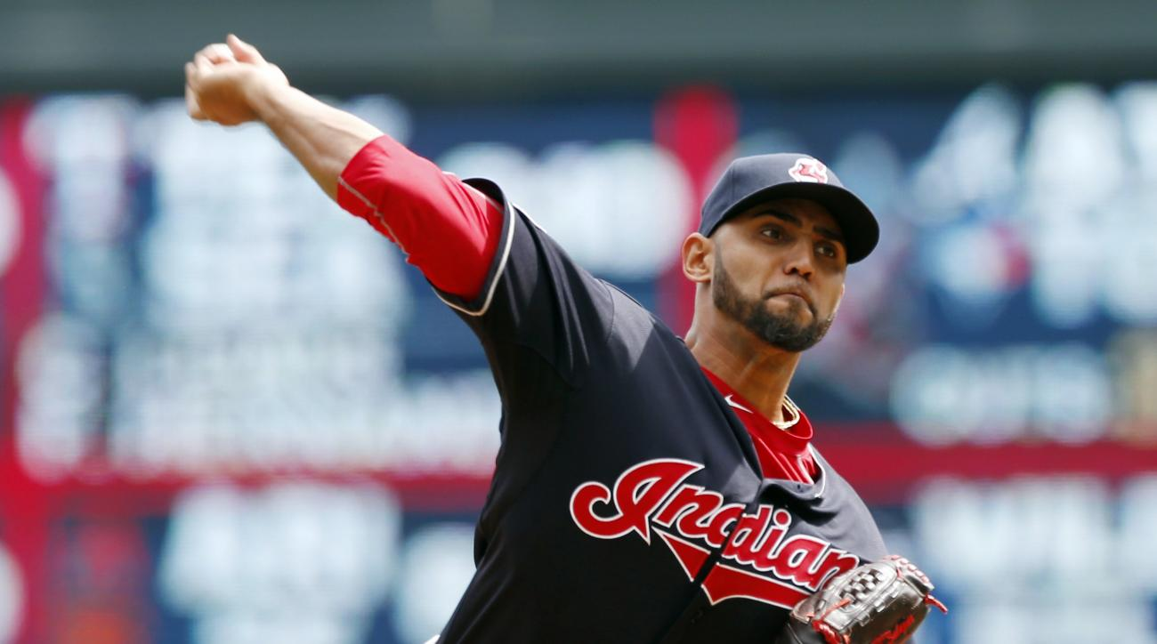 Cleveland Indians pitcher Danny Salazar throws against the Minnesota Twins in the first inning of a baseball game, Saturday, April 18, 2015, in Minneapolis. (AP Photo/Jim Mone)