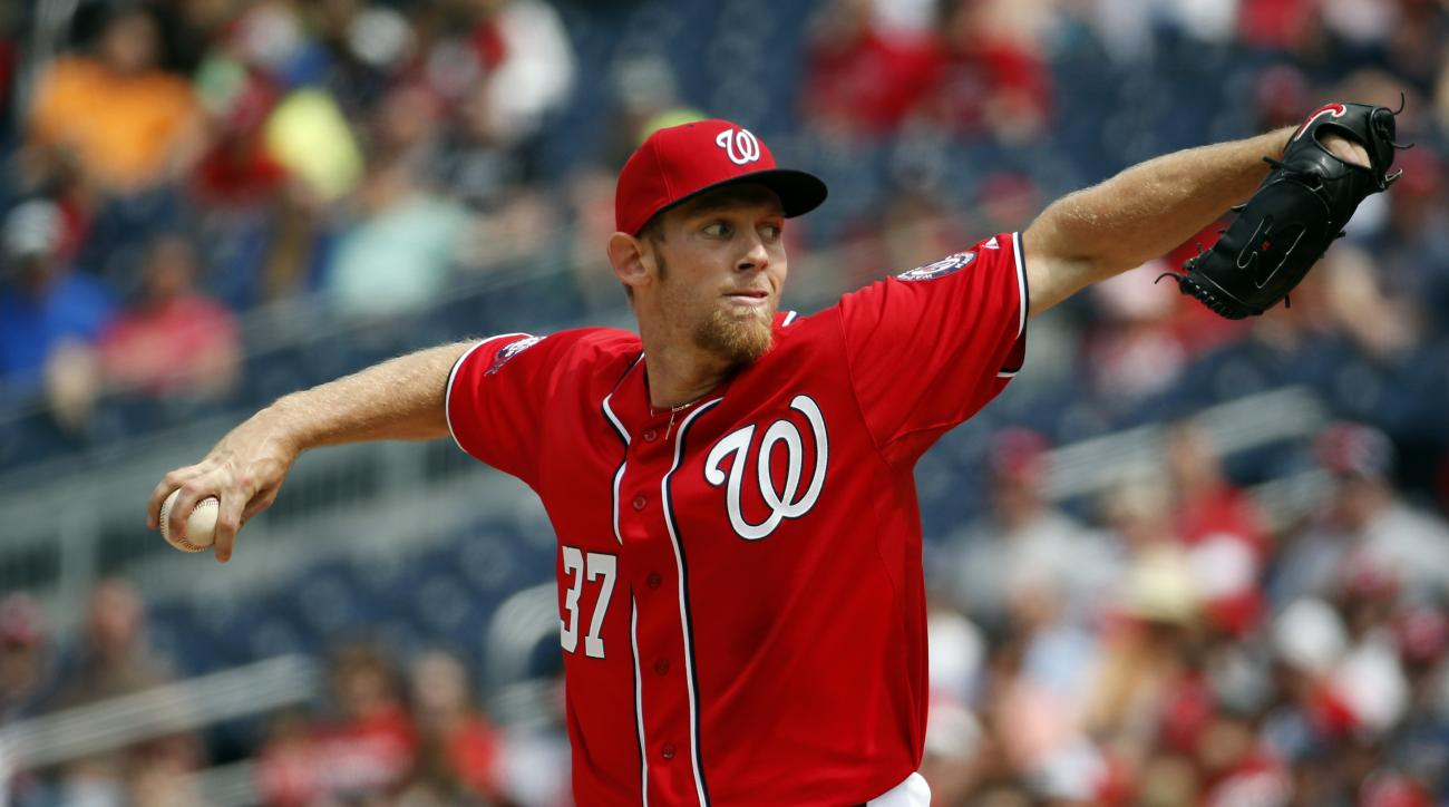 Washington Nationals starting pitcher Stephen Strasburg (37) throws during the fifth inning of a baseball game against the Philadelphia Phillies at Nationals Park, Sunday, April 19, 2015, in Washington. (AP Photo/Alex Brandon)