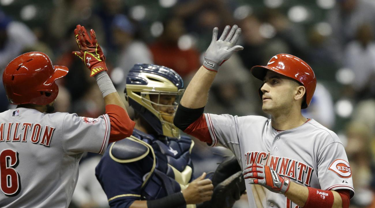 Cincinnati Reds' Joey Votto, right, gets a high-five from Billy Hamilton after Votto's  two-run home run against the Milwaukee Brewers during the seventh inning of a baseball game Monday, April 20, 2015, in Milwaukee. (AP Photo/Jeffrey Phelps)