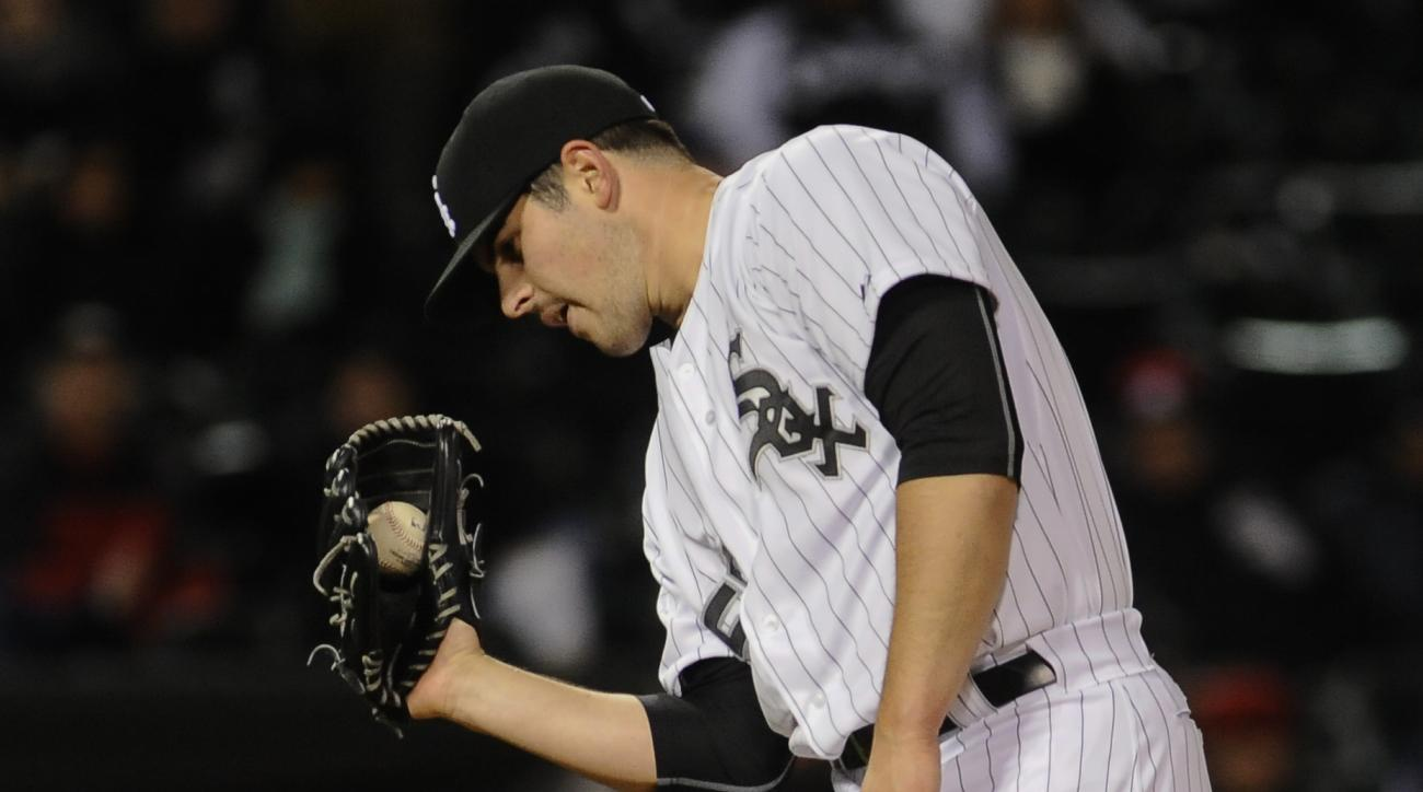 Chicago White Sox pitcher Carlos Rodon reacts to a pitch being called a ball in the seventh inning of a baseball game against the Cleveland Indians on Tuesday, April 21, 2015, in Chicago. (AP Photo/Matt Marton)