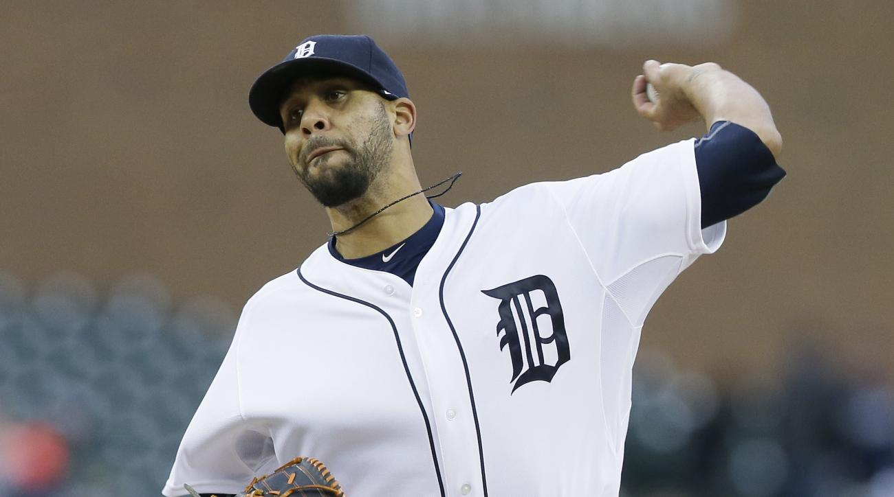 Detroit Tigers starting pitcher David Price throws during the first inning of a baseball game against the New York Yankees, Wednesday, April 22, 2015, in Detroit. (AP Photo/Carlos Osorio)