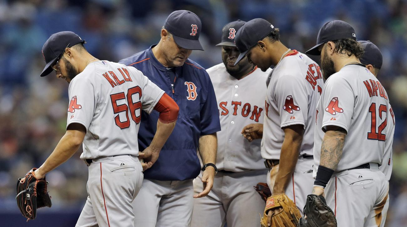 Boston Red Sox starting pitcher Joe Kelly, left, is taken out of the baseball game against the Tampa Bay Rays by manager John Farrell, second from left, during the sixth inning Wednesday, April 22, 2015, in St. Petersburg, Fla. (AP Photo/O'Meara)