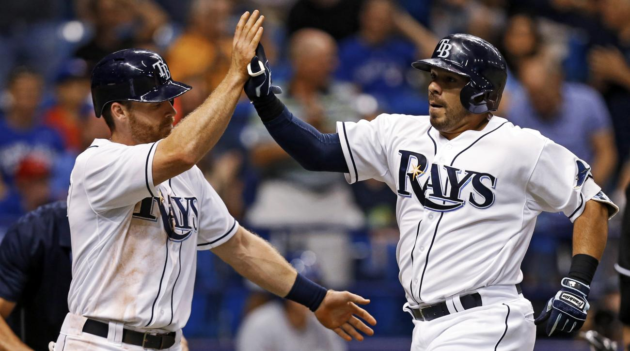 Tampa Bay Rays' Rene Rivera, right, is congratulated by Logan Forsythe on his two-run home run during the fourth inning of a baseball game against the Toronto Blue Jays on Friday, April 24, 2015, in St. Petersburg, Fla. (AP Photo/Mike Carlson)