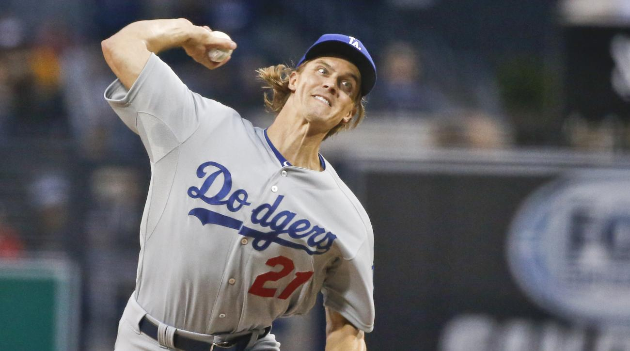 Los Angeles Dodgers starting pitcher Zack Greinke works against the San Diego Padres in the first inning of a baseball game Friday, April 24, 2015 in San Diego. (AP Photo/Lenny Ignelzi)