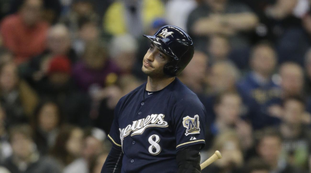 Milwaukee Brewers' Ryan Braun reacts to a called strike while batting against the St. Louis Cardinals in the first inning of a baseball game against the Saturday, April 25, 2015, in Milwaukee. (AP Photo/Jeffrey Phelps)