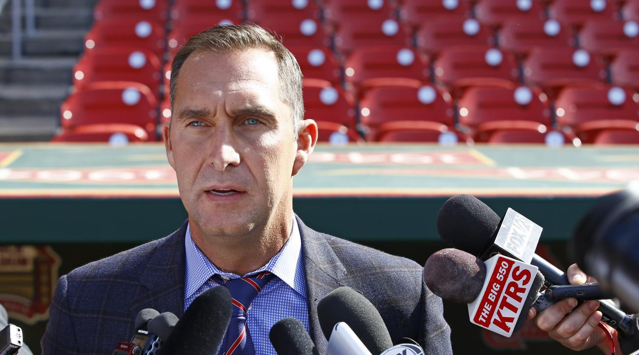 St. Louis Cardinals General Manager John Mozeliak addresses members of the media regarding the condition of Adam Wainwright, prior to a baseball game against the Philadelphia Phillies, Monday, April 27, 2015, in St. Louis. Mozeliak confirmed Wainwright ha