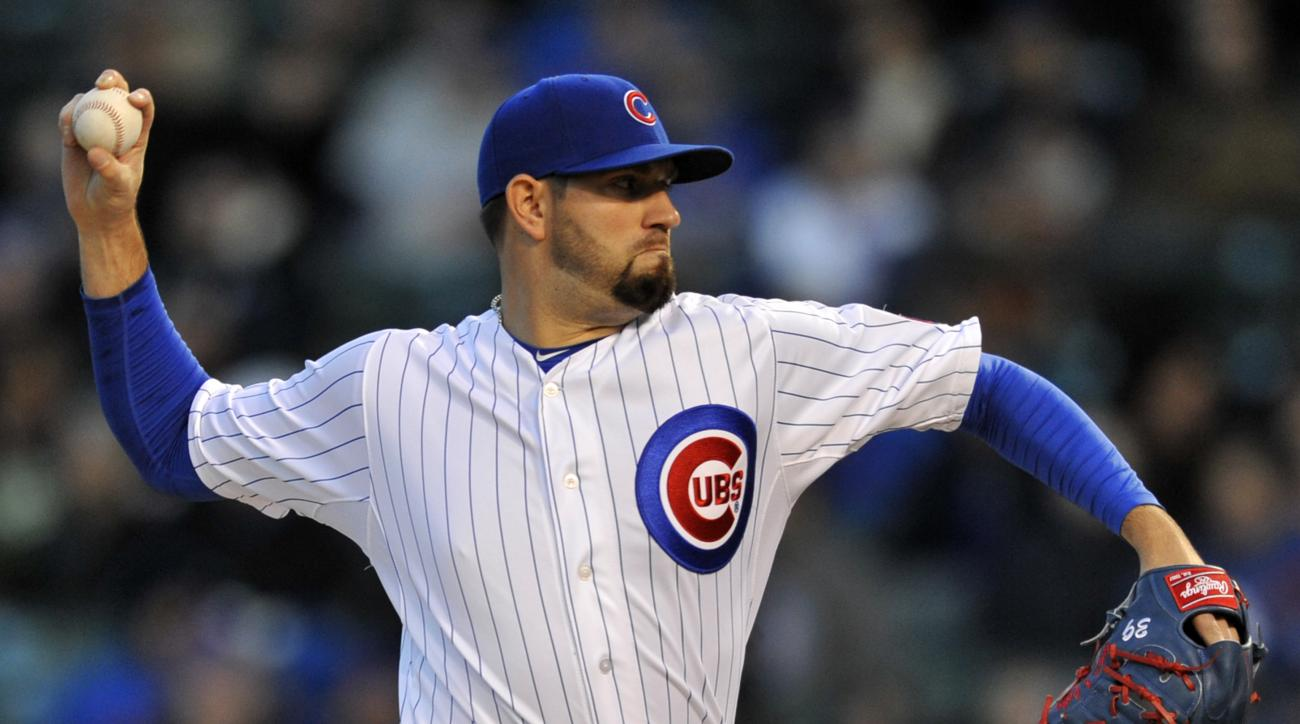 Chicago Cubs starter Jason Hammel delivers a pitch during the first inning of an MLB baseball game against the Pittsburgh Pirates Monday, April 27, 2015 in Chicago.  (AP Photo/Paul Beaty)