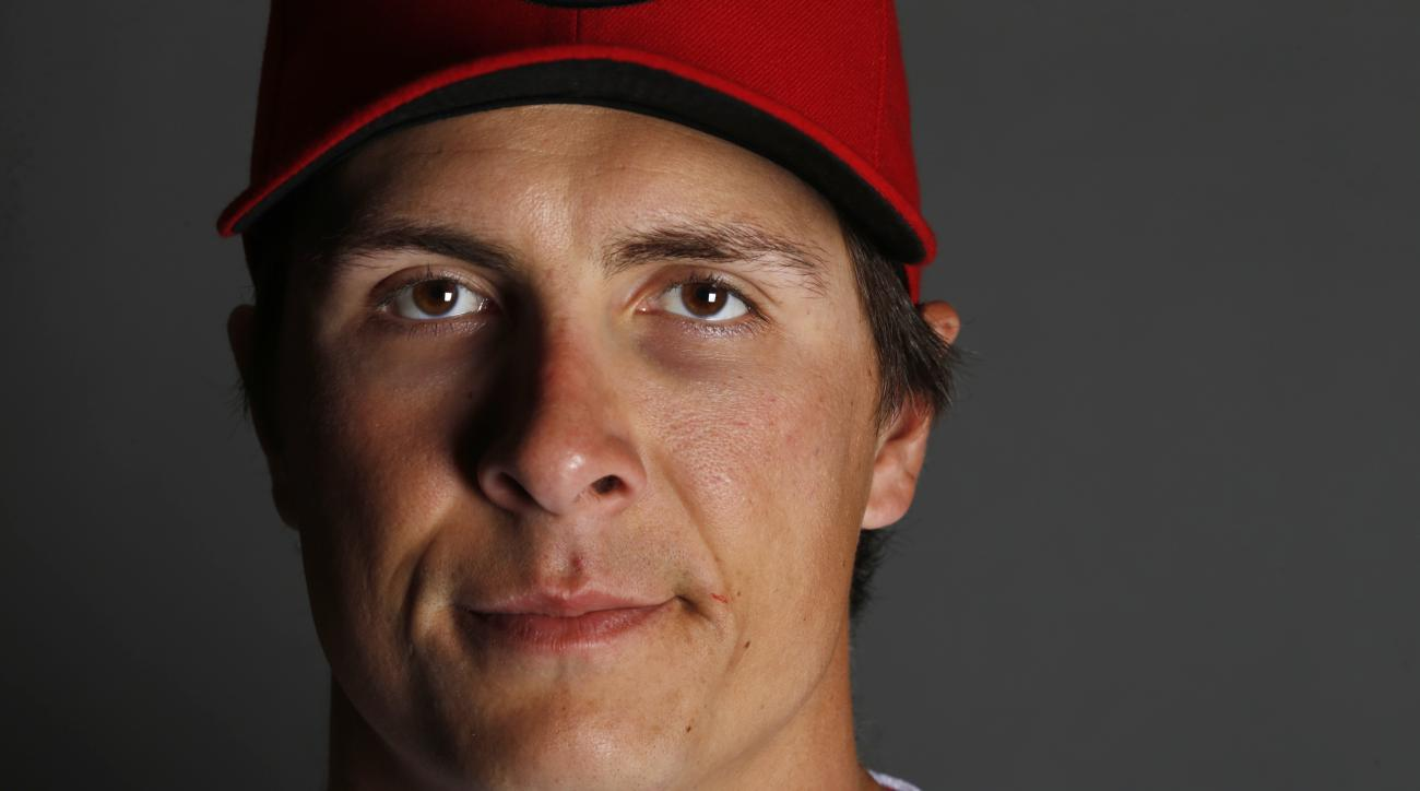 FILE - This is a 2015 file photo showing Homer Bailey of the Cincinnati Reds baseball team. Bailey went on the 15-day disabled list Monday night, April 27, 2015, with a sprained ligament in his elbow. (AP Photo/John Locher, File)