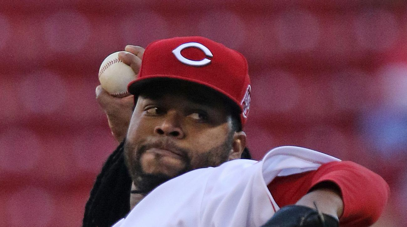 Cincinnati Reds' starting pitcher Johnny Cueto (47) throws against the Milwaukee Brewers during the first inning of their baseball game played Tuesday, April 28, 2015 in Cincinnati. (AP Photo/Gary Landers)