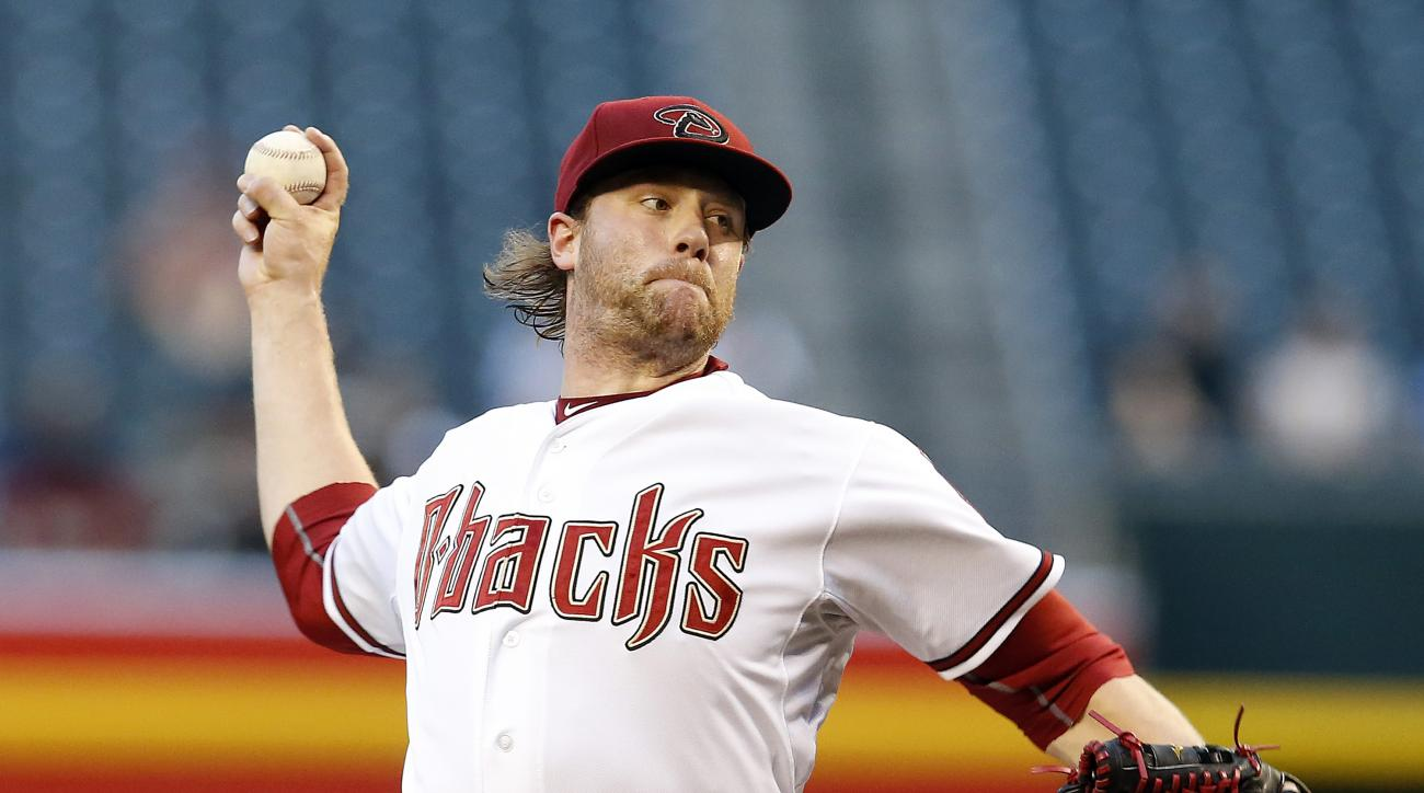 Arizona Diamondbacks pitcher Archie Bradley (25) throws in the first inning during a baseball game against the Colorado Rockies, Tuesday, April 28, 2015, in Phoenix. (AP Photo/Rick Scuteri)