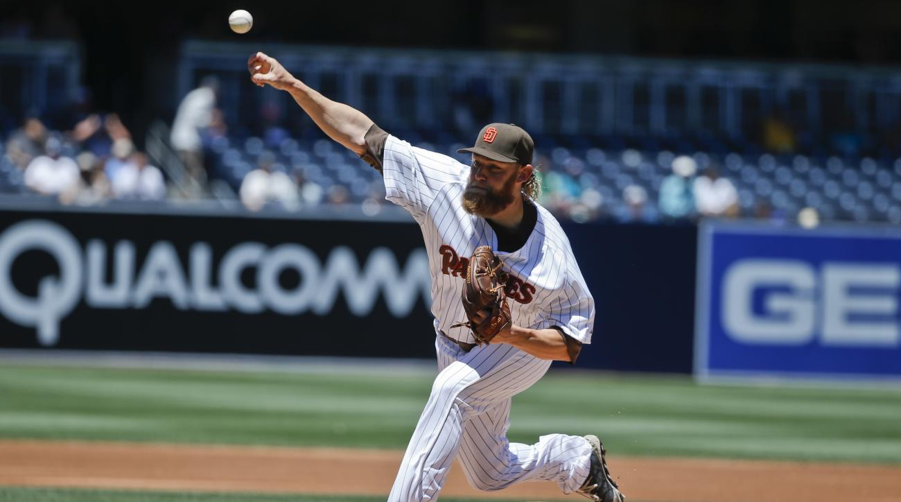 San Diego Padres starting pitcher Andrew Cashner works against the Houston Astros in the first inning of a baseball game Wednesday April 29, 2015 in San Diego.   (AP Photo/Lenny Ignelzi)