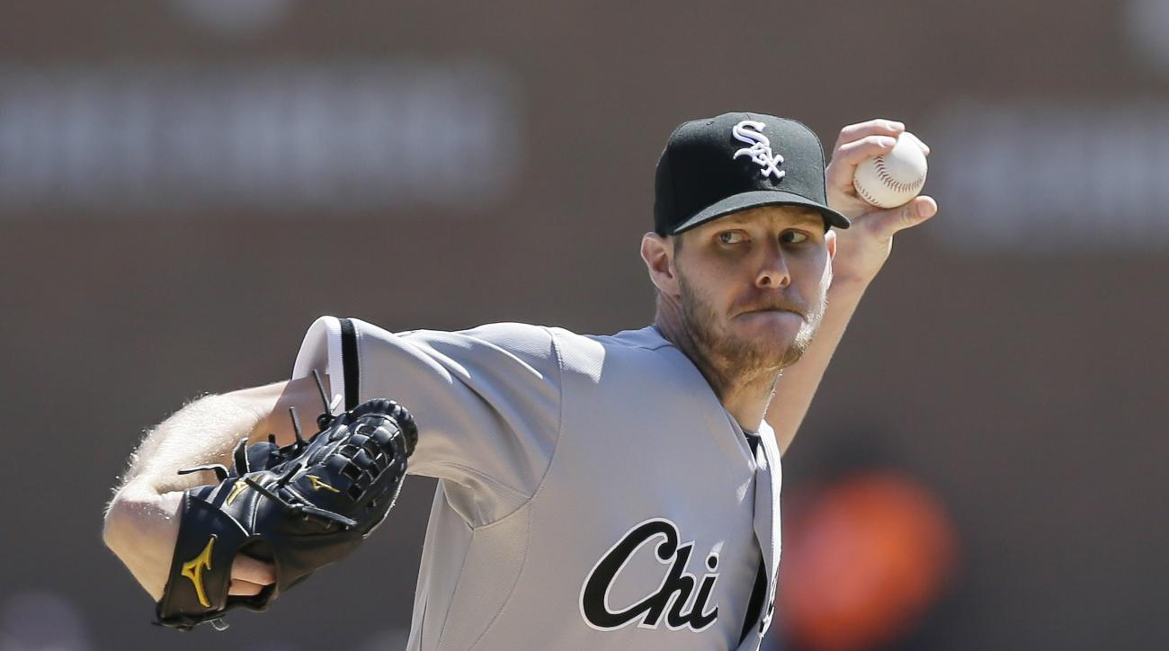 FILE- In this April 18, 2015, file photo, Chicago White Sox starting pitcher Chris Sale throws during the first inning of a baseball game against the Detroit Tigers, in Detroit. Sale, who has appealed his five-game suspension for his role in a brawl with