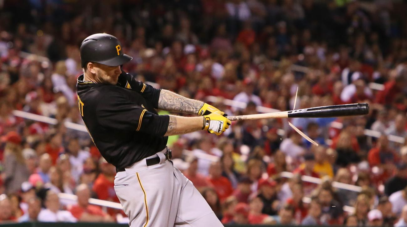 Pittsburgh Pirates' A.J. Burnett breaks his bat as he drives in a run with a single in the sixth inning of a baseball game against the St. Louis Cardinals, Friday, May 1, 2015, in St. Louis. (Chris Lee/St. Louis Post-Dispatch via AP)  EDWARDSVILLE INTELLI
