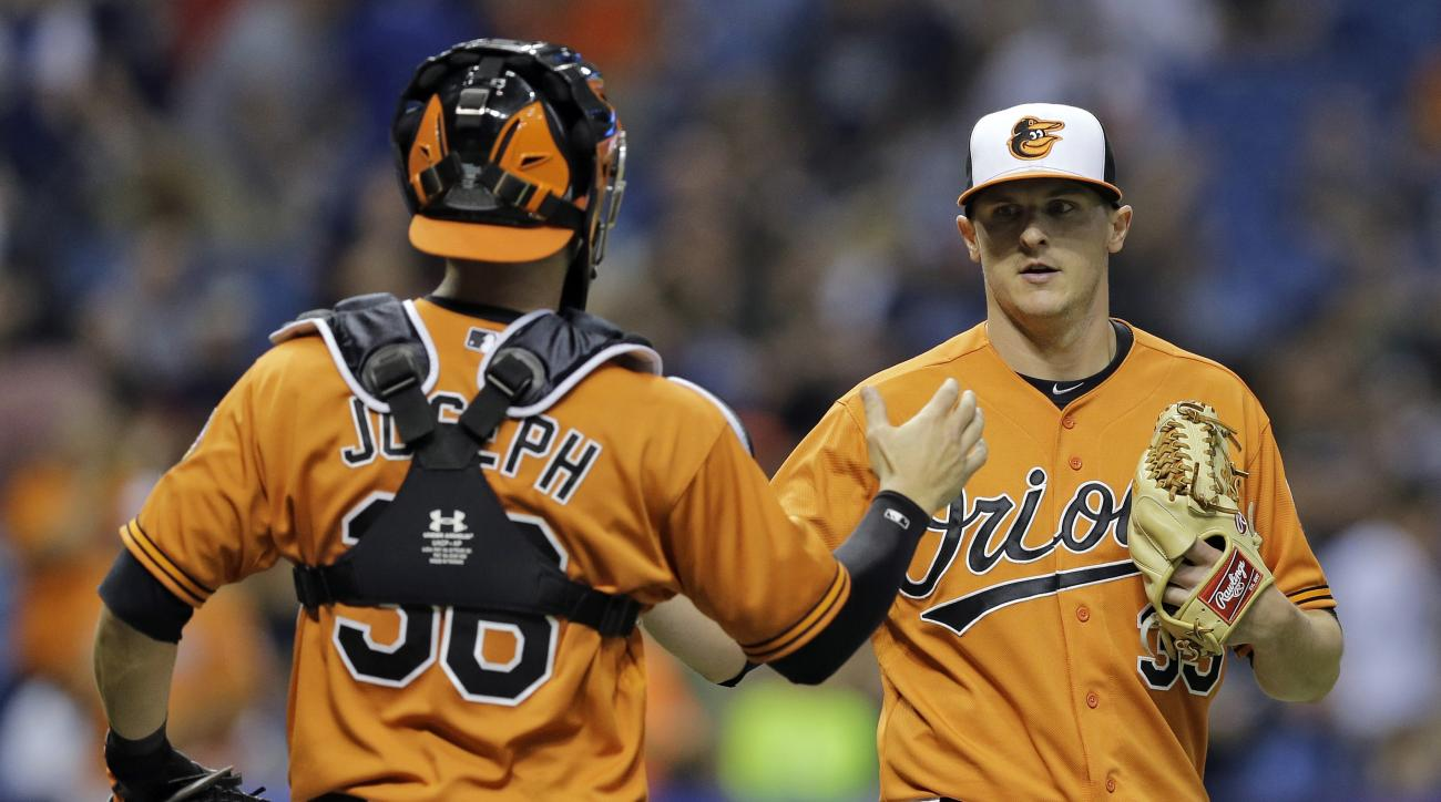 Baltimore Orioles relief pitcher Brad Brach, right, shakes hands with catcher Caleb Joseph after closing out the Tampa Bay Rays during the ninth inning of a baseball game Saturday, May 2, 2015, in St. Petersburg, Fla. The Orioles won the game 4-0. The gam