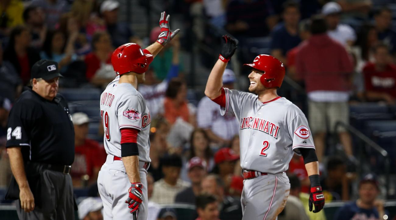 Cincinnati Reds shortstop Zack Cozart celebrates with first baseman Joey Votto after Cozart hit a two-run home run in the 9th inning of a baseball game against the Atlanta Braves Saturday, May 2, 2015 in Atlanta. (AP Photo/Kevin Liles)