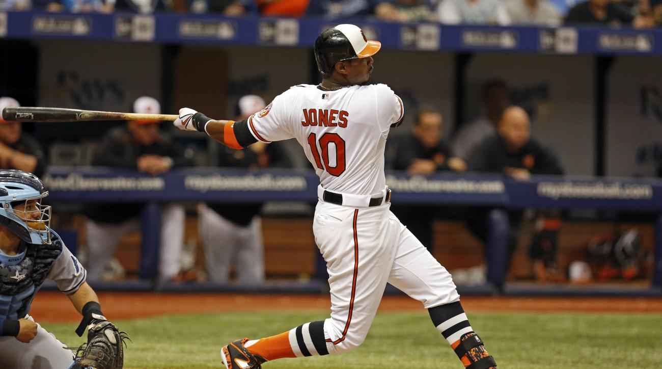 Baltimore Orioles' Adam Jones (10) follows through on a two-RBI single in front of Tampa Bay Rays catcher Rene Rivera during the seventh inning of a baseball game Sunday, May 3, 2015, in St. Petersburg, Fla. (AP Photo/Mike Carlson)