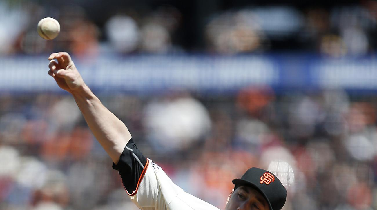 San Francisco Giants starting pitcher Tim Lincecum (55) throws to the Los Angeles Angels during the second inning of a baseball game on Sunday, May 3, 2015, in San Francisco. (AP Photo/Tony Avelar)
