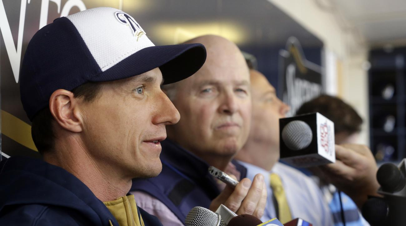 Milwaukee Brewers manager Craig Counsell answer question before batting practice Monday, May 4, 2015, in Milwaukee. The Brewers host the Los Angeles Dodgers Monday, in Counsell's first baseball game as manager. (AP Photo/Morry Gash)