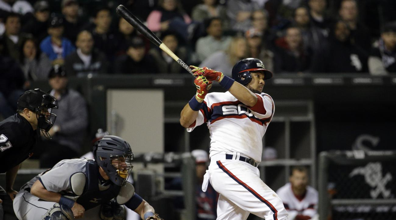 Chicago White Sox's Melky Cabrera hits a three-run home run against the Detroit Tigers during the eighth inning of a baseball game in Chicago on Wednesday, May 6, 2015. (AP Photo/Nam Y. Huh)